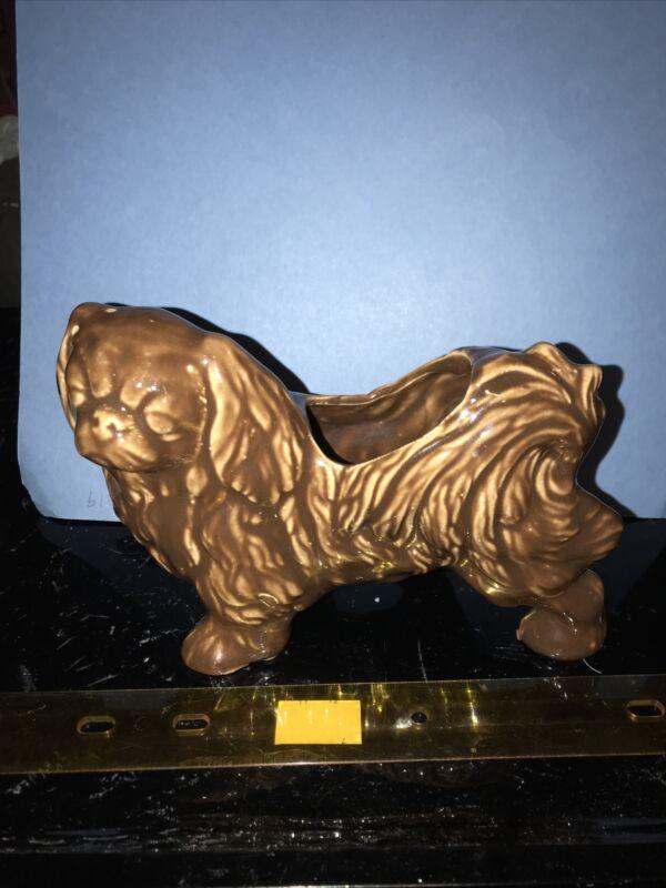 RM70 Vintage Pekingese Japanese Chin Dog Pottery Planter Brown