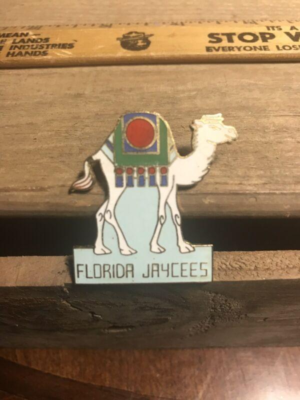 Florida Jaycees Pin Camel Rare Enamel Pin Double Back