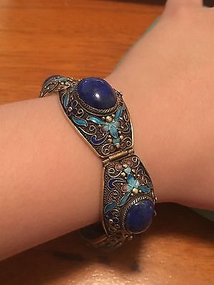 Vintage Chinese Sterling silver enamel and lapis lazuli bracelet!!!