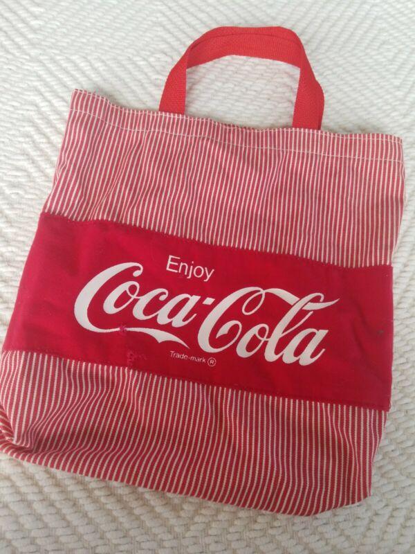 Coca-Cola Pinstriped Red Canvas Tote Bag Coke Logo