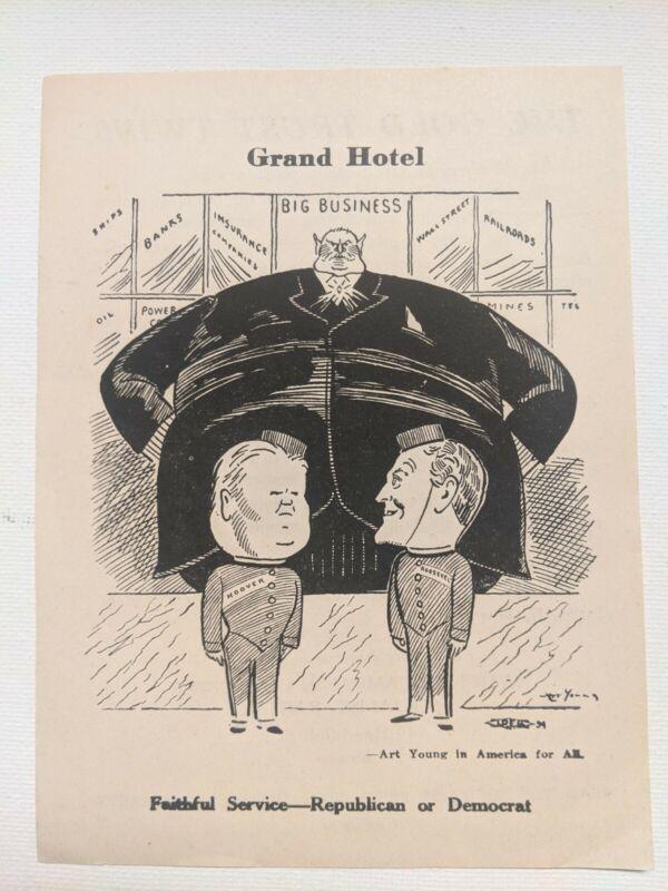 1932 Socialist Party, Thomas-Maurer, handbill mint condition, Arthur Young