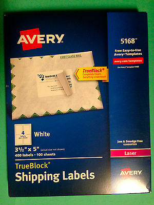 Avery 5168 Laser Shipping Labels 3 12 X 5 - 400 Labels 100 Sheets - White - New