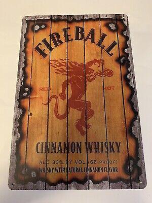 Fireball Cinnamon Whisky Tin Metal Sign Vintage Wood Fire Burn Look Logo Whiskey