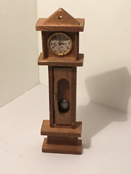 Vintage Dollhouse Miniatures Wood Grandfather Clock #39