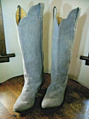 Vintage Womens Justin Western Cowboy Boots Grey Suede Leather Sz 8 1/2 B USA