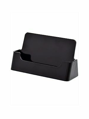 50 Black Acrylic Ridged Business Card Holder Display Stand