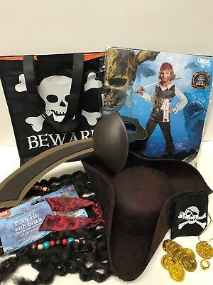 Jack Sparrow Costume Pirates of the Caribbean Child Large 10-12 with Pirate Hat