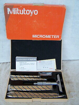 New Mitutoyo Depth Micrometer Model 129-132 Smc 4-6 Inch Five Depth Gauges