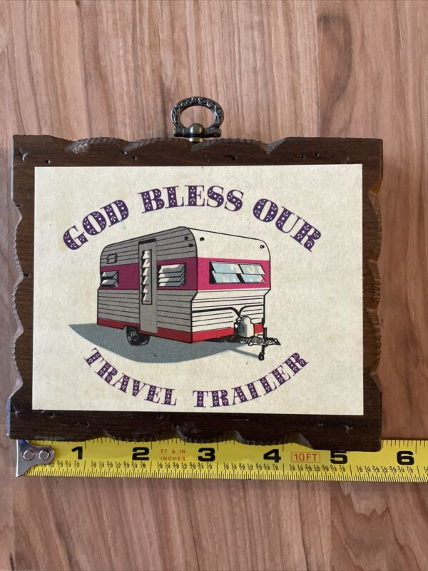 Vintage Wood Sign God Bless Our Travel Trailer