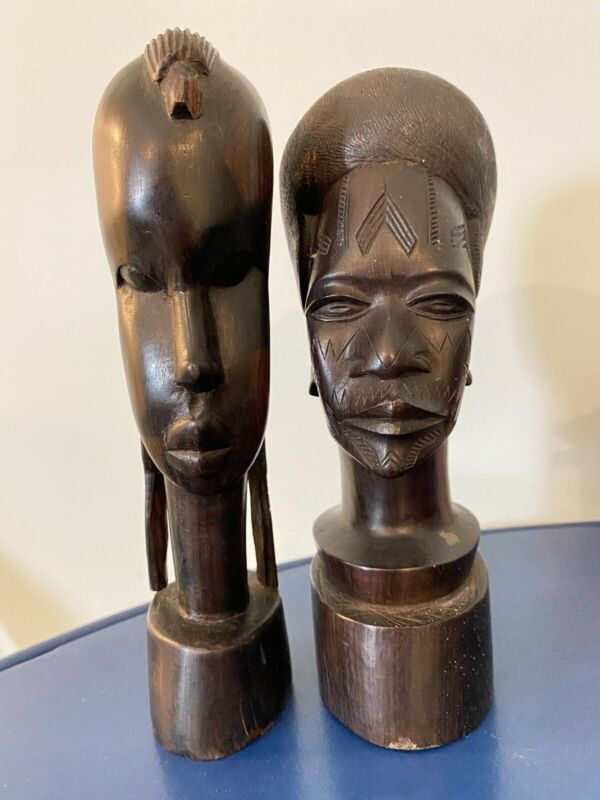 """Vintage African man and woman carved tribal ebony wooden statues, 9"""" tall"""