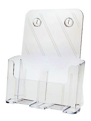 2 Pocket Tri Fold Magazine Desk Top Wall Mount Brochure Holder With Divider