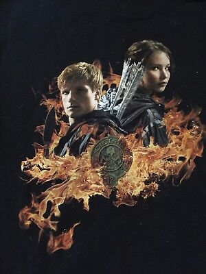 Hunger Games Catching Fire District 12 Hooded Black Sweatshirt Jacket Size LARGE