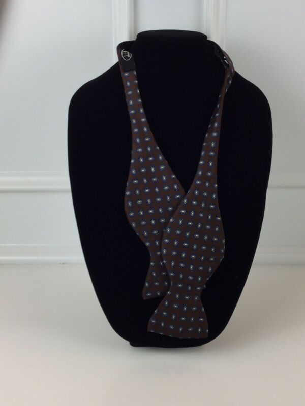 Dunhill Bow Tie Brown w/ Geometric Shape 100% Silk Made in Italy