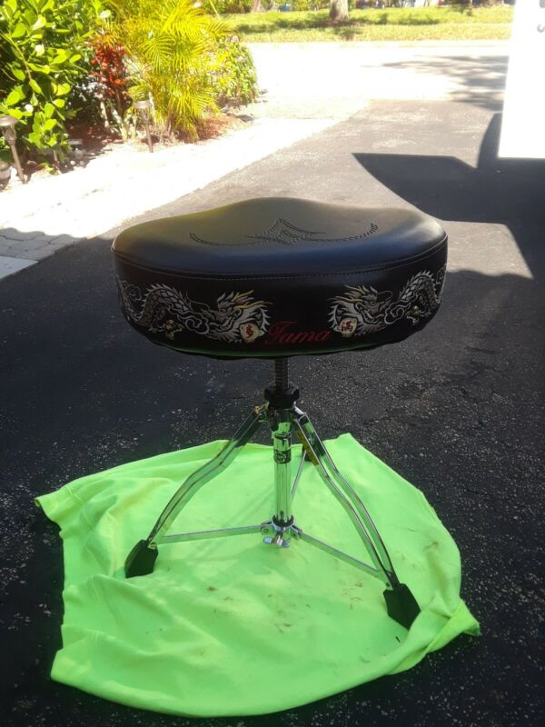 Rare Tama Drum Throne 1st Chair with Dragons Embroidered