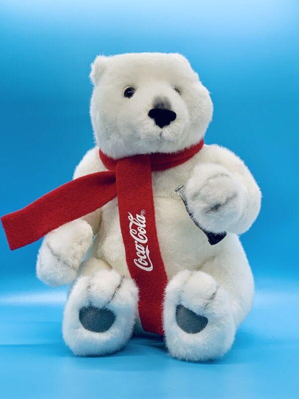 Coca Cola Plush Polar Bear Holding Coke Bottle Beverly Hills Gift Co. coca-cola