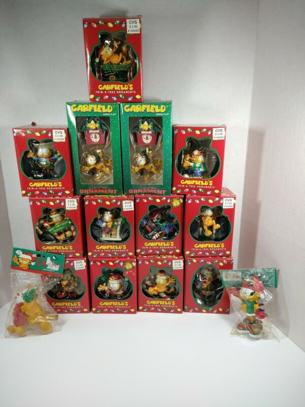 Garfield Mega Christmas Ornament Collection!! Wow hard to find this many! WOW!