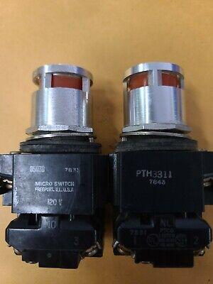 Micro Switch Pth3311 Amber 7843 85030 Push Button W Aluminum Guard