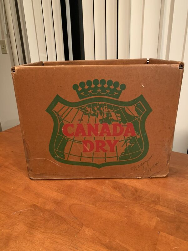 VINTAGE CANADA DRY BOTTLE SODA CARDBOARD METAL BOX CRATE GINGER ALE ADVERTISING