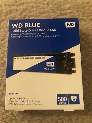 NEW WD Blue 3D NAND 500GB PC SSD SATA III 6 Gb/s M.2 2280 Solid State Drive