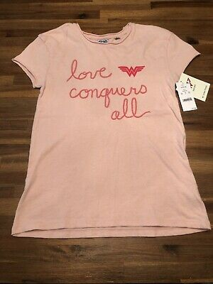 new!! JUNK FOOD Pink Wonder Woman LOVE CONQUERS ALL T-Shirt ~ Girls 10-12 YRS - Pink Wonder Woman