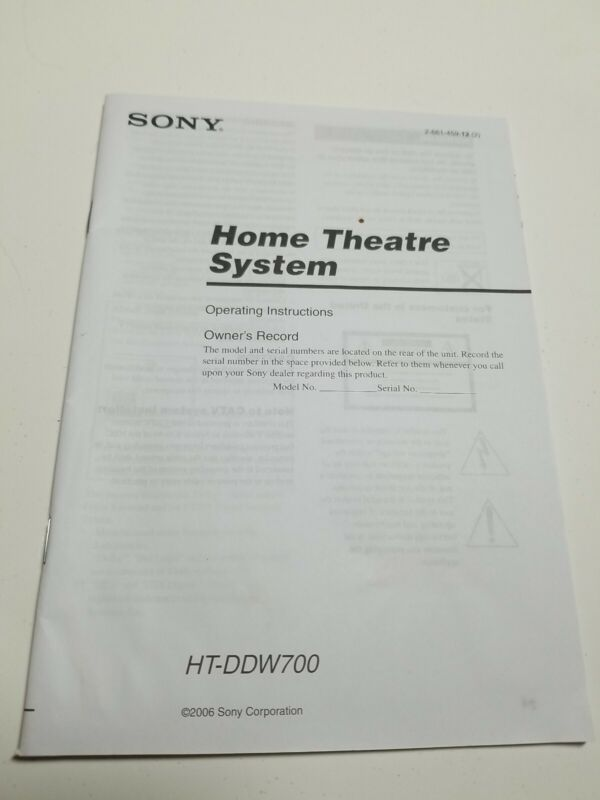 Sony HT-V700DDW Home Theater System Owners Manual