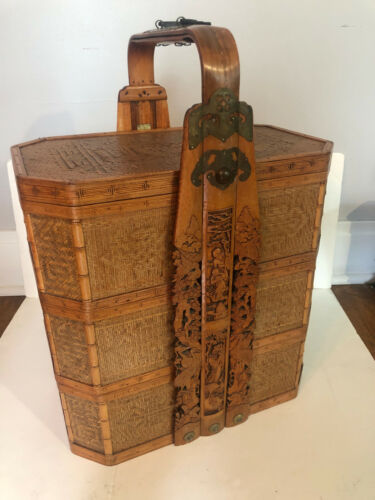 Large Antique Japanese Handmade Woven and Carved 3-tier storage Basket