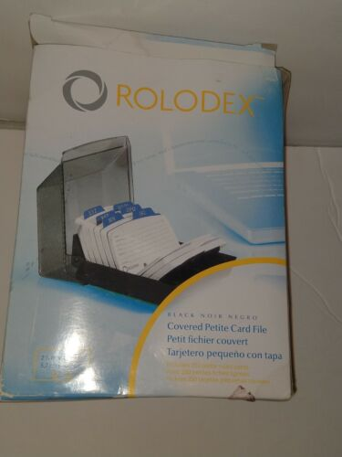 Rolodex Covered Petite Card File Black, Includes 250 Ruled Cards