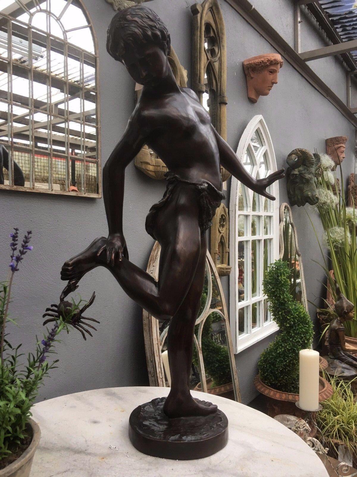 Bronze Boy & Crab on Toe Classic Italian Brown bronze crab boy Statue Figure