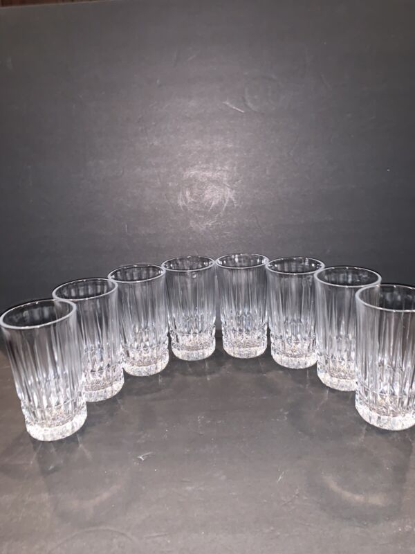 8 Vintage Heritage Clear Highball 10 Oz cut glass set Excellent HTF