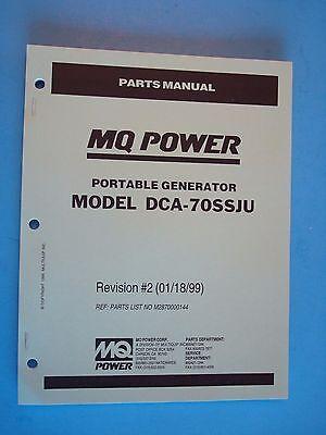 Mq Power Dca-70ssju Portable Generator Parts Manual Revision2 011899
