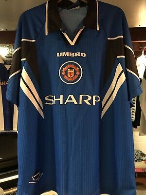 Manchester United 1996/98 Third Shirt Away Soccer Jersey  Xxl Umbro Camiseta image