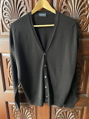 John Smedley NWT Lightweight Brown Cardigan Sweater Slim Fit