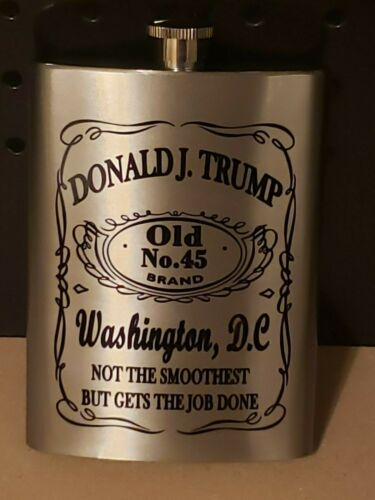 Donald Trump Old 45 whiskey label Stainless Steel 8oz Hip Flask