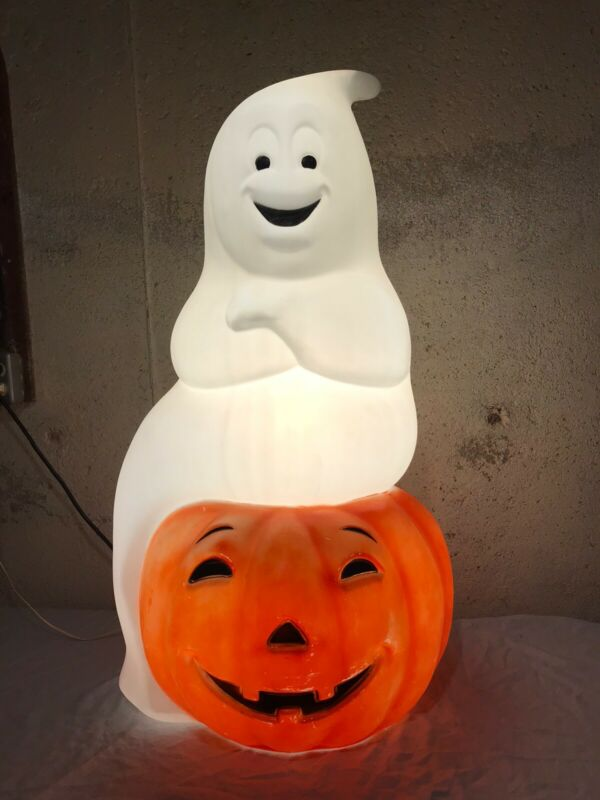 "Vintage Large 34"" Halloween Ghost Pumpkin Empire Blow Mold (No Cracks) LocalOnly"