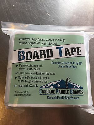 "SUP Paddle Board Protective Rail Tape (2 Rolls) 4"" X 96""  Longer & Thicker !!"