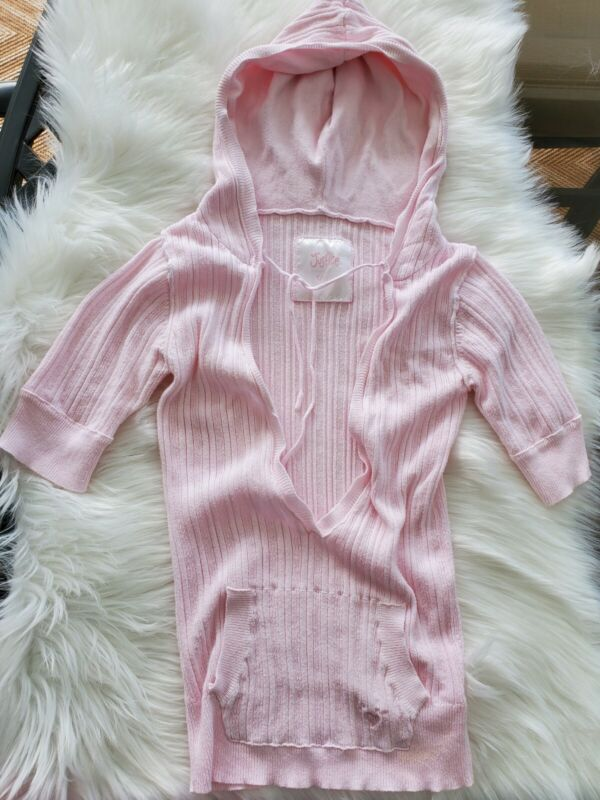 JUSTICE FOR GIRLS Light Pink Ribbed Hooded Short Sleeve Pullover Sweater Size 10