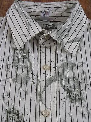 Mens Xl Terra Nostra Paint Splatter Striped L S Buttonfront Shirt