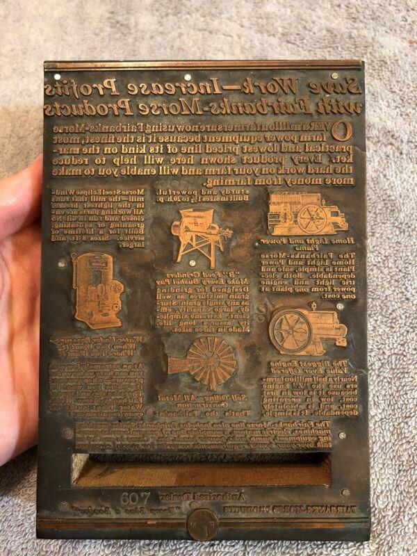 Vintage Fairbanks Morse Salesman Brass Letterpress Stamp Hit & Miss Engine Farm