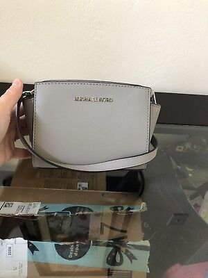NWT MICHAEL KORS SAFFIANO LEATHER SELMA MINI CROSSBODY BAG IN Ash Grey