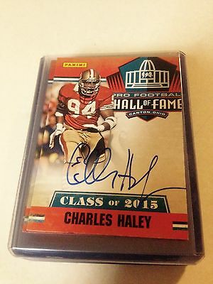 Charles Haley Signed Panini Hall Of Fame Card