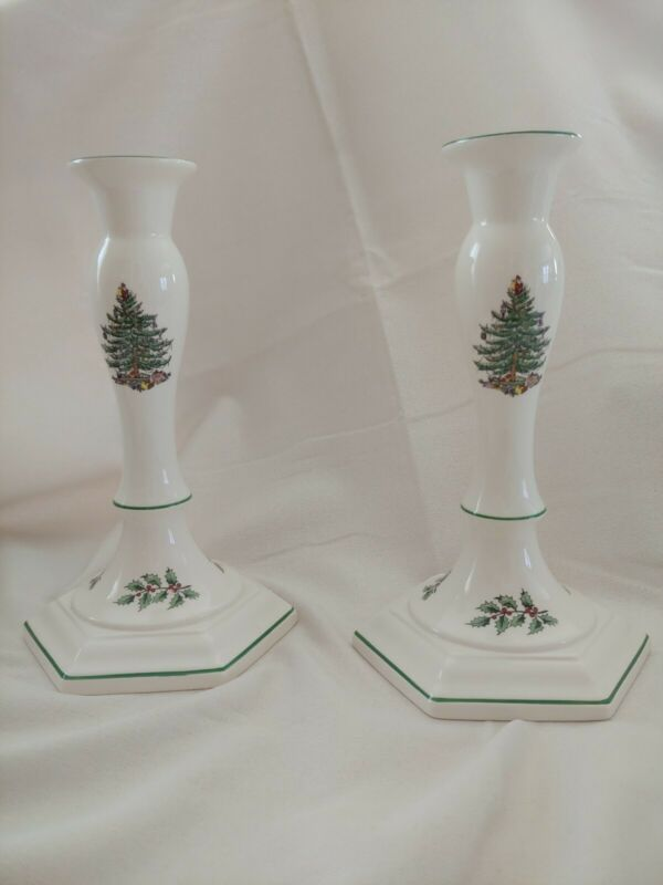 """Spode """" Christmas Tree"""" Candle Stick Holders - Set of 2 -  Made In England• 9"""""""