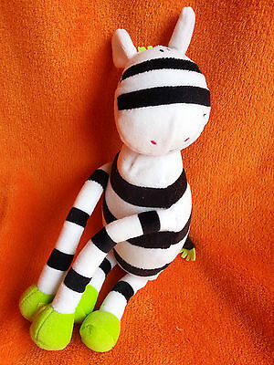 """Bruin Toys r us Zebra Soft Toy Lime Green with Velcro Hands 12"""""""