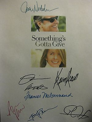 Something's Gotta Give Signed Film Script X7 Jack Nicholson Diane Keaton Peet rp