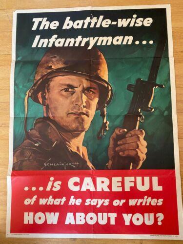 Original WWII The Battle-Wise Infantryman...Is Careful Poster 20 x 28