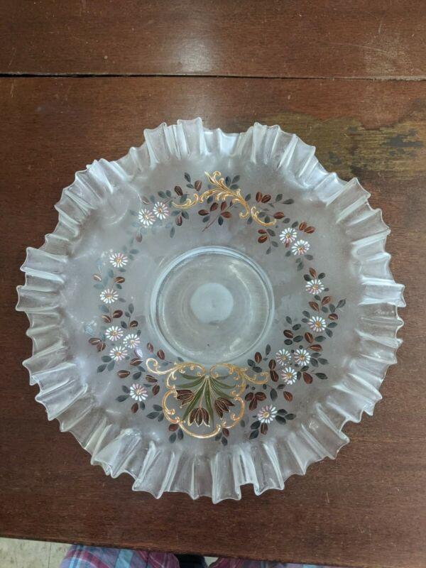 "Harrach Victorian Brides Bowl Ruffled Hand Painted 10"""