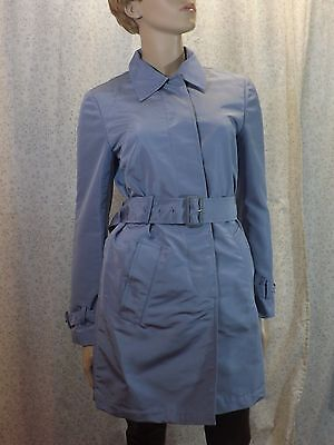 NWT PRADA LAVENDER SILK POLYESTER BELTED COVERED BUCKLE TRENCH RAINCOAT 40 4
