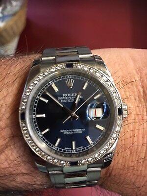 36mm Mens 2016 Rolex Datejust sunburst blue dial, Box & Papers Diamond Bezel segunda mano  Embacar hacia Mexico