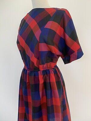 80s Dresses | Casual to Party Dresses Vintage 1980s Plaid Dress Batwing Short Sleeve Homemade Vtg 80s S/M $26.96 AT vintagedancer.com