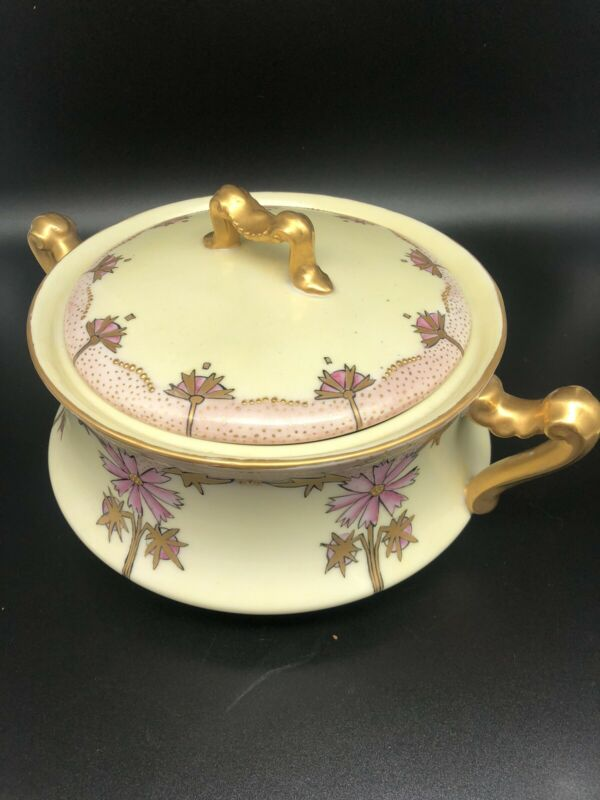 Limoges France~Delinieres Co~Covered Dish~Raised Gold Trim~Floral~1894-1900