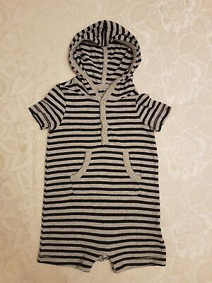 Gap Baby Boys Romper Suit Short Sleeve Hooded Babygrow. Navy/Grey Stripe 6-12... Gap Short Sleeve Romper